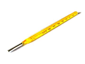 Termômetro de mercúrio.